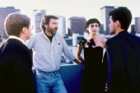 BAD INFLUENCE, James Spader, director Curtis Hanson, Lisa Zane, Rob Lowe, on set, 1990. ©Triumph Releasing
