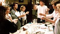 APRIL FOOL'S DAY, Deborah Foreman, Amy Steel, Clayton Rohner, Deborah Goodrich, Griffin O'Neal, Jay Baker, Leah Pinsent, 1986