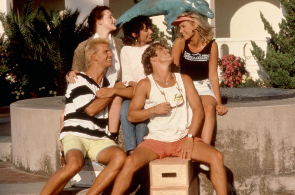 THE ALLNIGHTER, (standing l-r): Joan Cusack, Susanna Hoffs, Dedee Pfeiffer, (sitting l-r): James Anthony Shanta, John Terlesky, 1987, (c)Universal Pictures