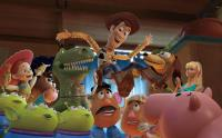 TOY STORY 3, Jessie (left, voice: Joan Cusack), Mr. Potato Head (center, voice: Don Rickles), Woody (top, voice: Tom Hanks), Barbie (right), 2010. ©Buena Vista Pictures