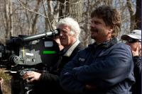 THE COMPANY MEN, foreground from left: cinematographer Roger Deakins, writer/director John Wells, on set, 2010