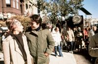 WHAT'S UP DOC?, from left: Barbra Streisand, director Peter Bogdanovich on set, 1972, STIS 023, Photo by:  (68664)