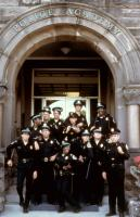POLICE ACADEMY 2: THEIR FIRST ASSIGNMENT, (back left): Michael Winslow, Bubba Smith (back right), (front l-r): Steve Guttenberg, Bruce Mahler, Marion Ramsey, Peter Van Norden (second from right), G.W. Bailey, 1984, (c)Warner Bros