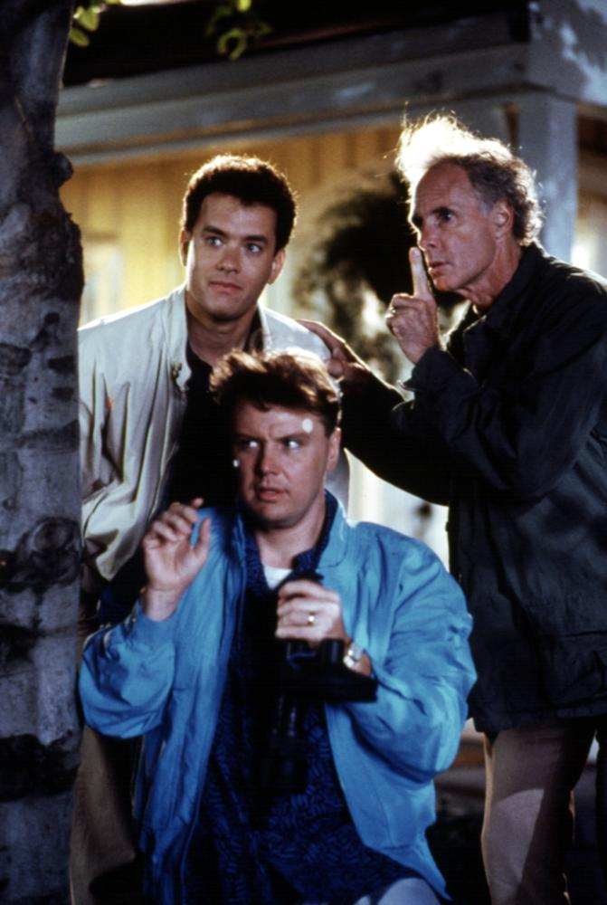 THE BURBS, Tom Hanks, Rick Ducommun, Bruce Dern, 1989