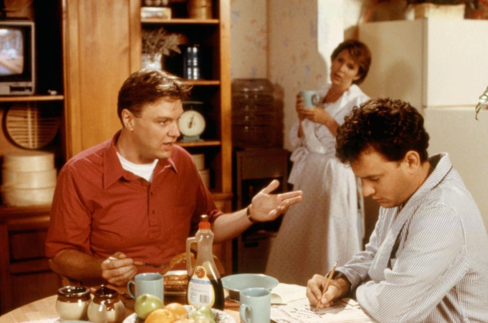 THE BURBS, Rick Ducommun, Carrie Fisher, Tom Hanks, 1989, (c)Universal