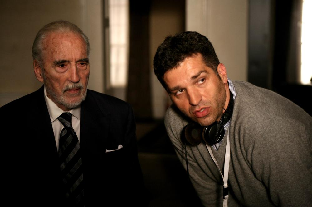 TRIAGE, from left: Christopher Lee, director Danis Tanovic, on set, 2009. ©HanWay Films