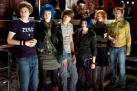 SCOTT PILGRIM VS. THE WORLD, from left: Michael Cera, Mary Elizabeth Winstead, Johnny Simmons, Ellen Wong, Alison Pill, Mark Webber, Ph: Kerry Hayes/©Universal