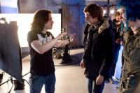 SCOTT PILGRIM VS. THE WORLD, front, from left: director  Edgar Wright, Michael Cera, Mary Elizabeth Winstead, on set, 2010. Ph: Kerry Hayes/©Universal