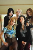 THE RUNAWAYS, rear l-r: Kristen Stewart as Joan Jett, Dakota Fanning as Cherie Currie, Scout Taylor-Compton as Lita Ford, foreground l-r: Stella Maeve as Sandy West, Alia Shawkat, 2010. ©Apparition
