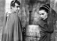 THE ROBE, from left: Jay Robinson, Jean Simmons, 1953 TM and Copyright (c) 20th Century-Fox Film Corp. All Rights Reserved
