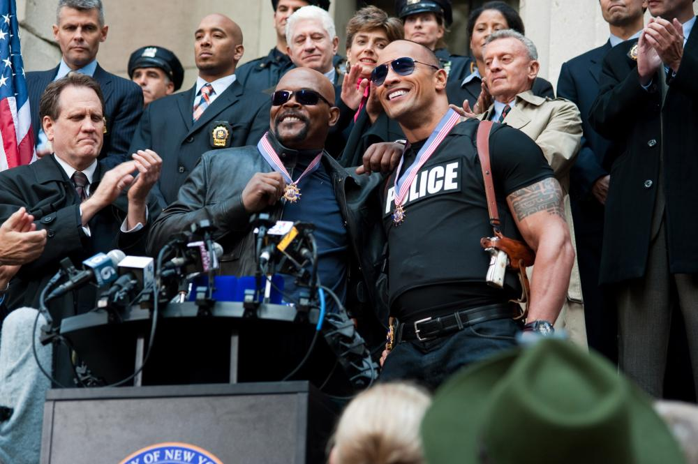 THE OTHER GUYS, Samuel L. Jackson (left of center), Dwayne Johnson (right of center), 2010. ©Columbia Pictures