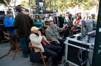 THE OTHER GUYS, director of photography Oliver Wood (seated, left), director Adam McKay (hand raised), on set, 2010.  ph: Macall B. Polay/©Columbia Pictures