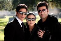 MY NAME IS KHAN, from left: Shahrukh Khan, Kajol, director/producer Karan Johar, on set, 2010. TM & copyright ©Fox Searchlight. All rights reserved