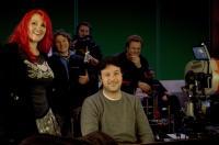 KICK-ASS, foreground from left: screenwriter Jane Goldman, director Matthew Vaughn, on set, 2010. Ph: Daniel Smith/©Lions Gate