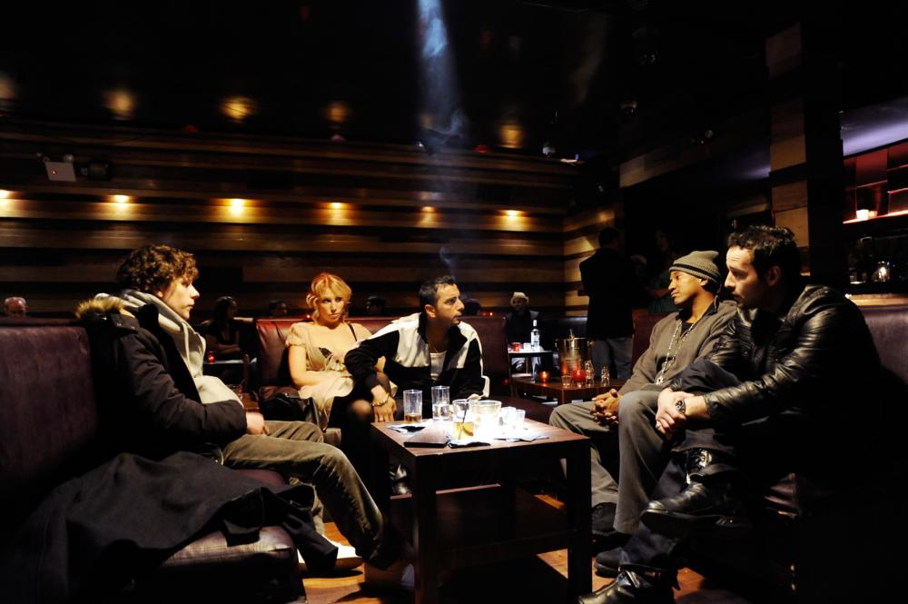 HOLY ROLLERS, from left: Jesse Eisenberg, Ari Graynor, Dany A. Abeckaser, Q-Tip, David Vadim, 2010. ©First Independent Pictures