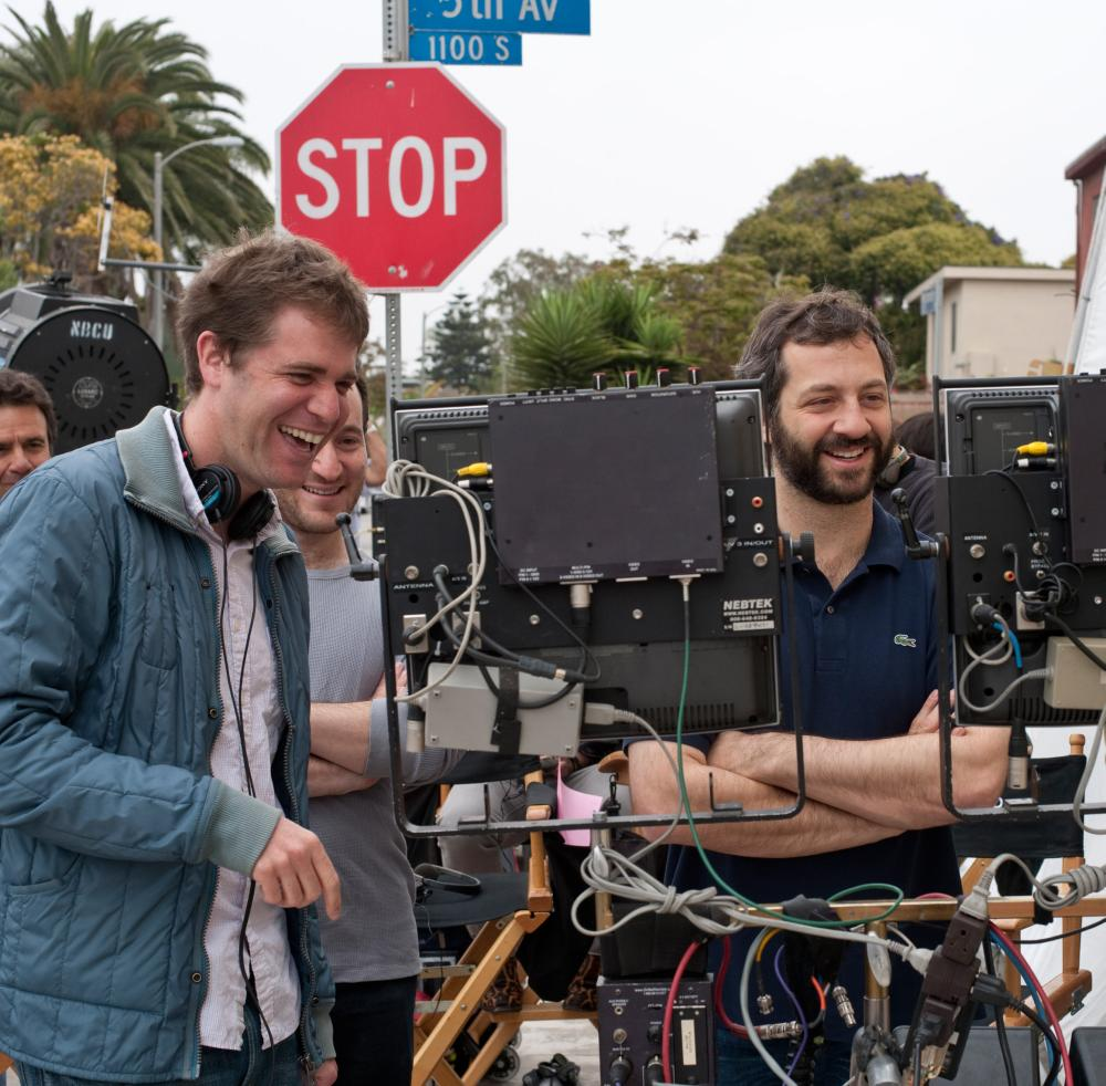 GET HIM TO THE GREEK, from left: director Nicholas Stoller, producer Rodney Rothman, producer Judd Apatow, on set, 2010. ph: Glen Wilson/©Universal Pictures