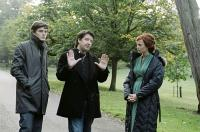 FRANKLYN, from left: Sam Riley, director Gerald McMorrow, Eva Green, on set, 2009. ©Contender