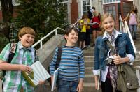 DIARY OF A WIMPY KID, from left: Robert Capron, Zachary Gordon, Chloe Moretz, 2010, ph: Rob McEwan/TM & Copyright ©20th Century Fox Film Corp. All rights reserved.