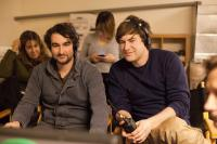 CYRUS, foreground from left: directors Jay Duplass, Mark Duplass, on set, 2010. Ph: Chuck Zlotnick/©Fox Searchlight Films