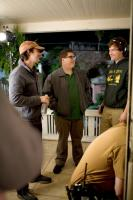 CYRUS, from left: director  Jay Duplass, Jonah Hill, director Mark Duplass, on set, 2010.  ph: Chuck Zlotnick/TM & copyright ©Fox Searchlight Pictures. All rights reserved