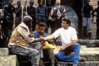 AMERICAN NINJA 4: THE ANNIHALATION, front from left: Ken Gampu, Jody Abrahams, Michael Dudikoff, 1990, © Cannon Films