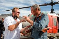 THE A-TEAM, from left: director  Joe Carnahan, Liam Neeson, on set, 2010, ph: Doug Curran/TM and Copyright ©20th Century Fox Film Corp. All rights reserved.