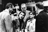HOOSIERS, from left: Michael Sassone, director David Anspaugh, Robert Swan, Barbara Hershey, Gene Hackman, on set, 1986. ©Orion