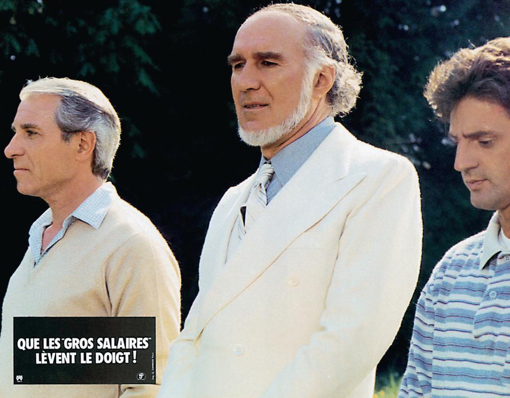 QUE LES GROS SALAIRES LEVENT LE DOIGT!, from left: Jean Poiret, Michel Piccoli, Daniel Auteuil, 1982, © Parafrance Films