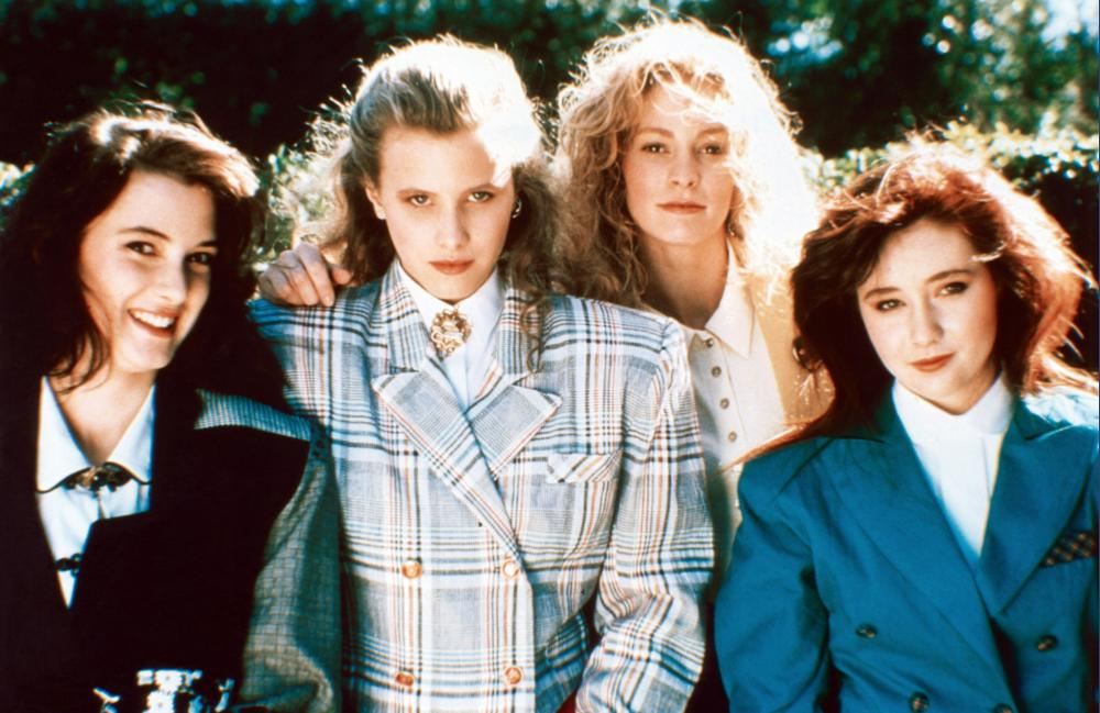 HEATHERS, from left: Winona Ryder, Kim Walker, Lisanne Falk, Shannon Doherty, 1988, © New World