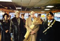 COMING TO AMERICA, from left, Sheila Johnson, Madge Sinclair, James Earl Jones, Paul Bates, 1988, ©Paramount