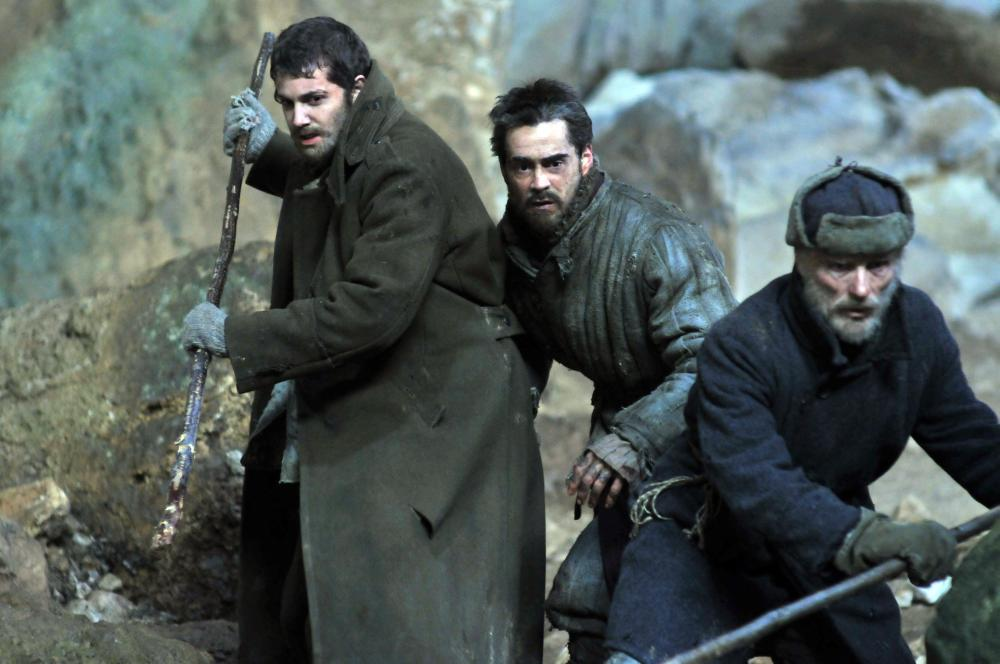 THE WAY BACK, from left: Jim Sturgess, Colin Farrell, Ed Harris, 2010. ©Newmarket Releasing
