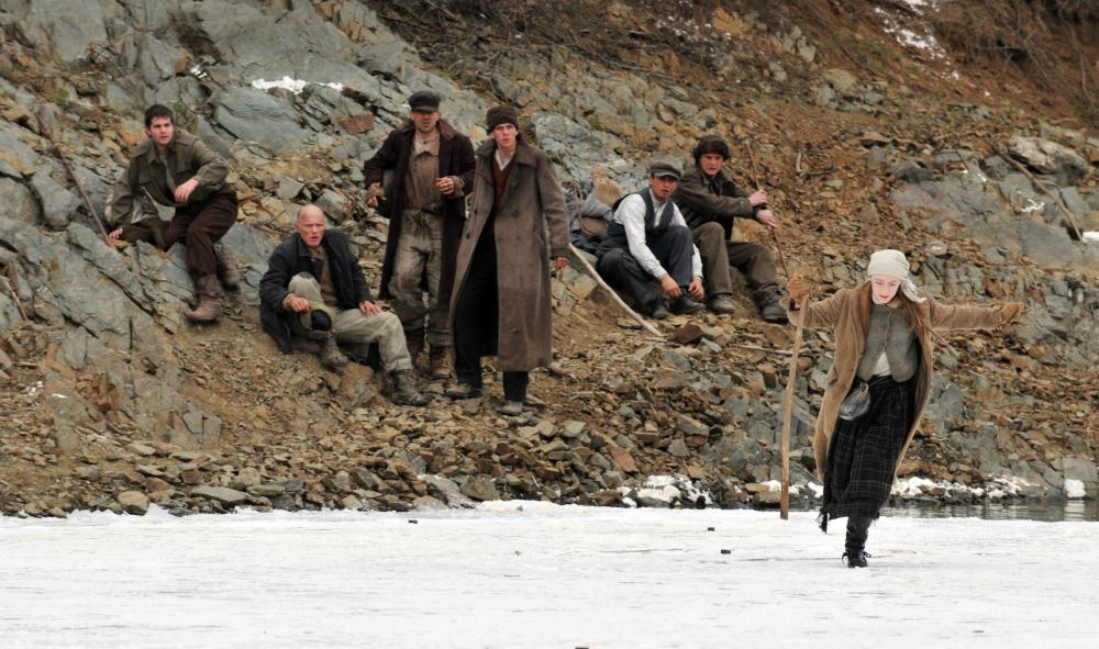 THE WAY BACK, rear from left: Jim Sturgess, Ed Harris, foreground right: Saoirse Ronan, 2010, ©Newmarket Releasing
