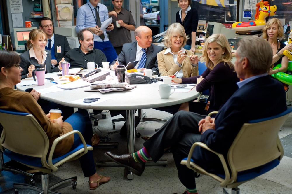 MORNING GLORY, second from left seated: Rachel McAdams, John Pankow (next to her), third from right seated: Diane Keaton, far right seated: Harrison Ford, 2010, ph: Macall Polay/©Paramount Pictures