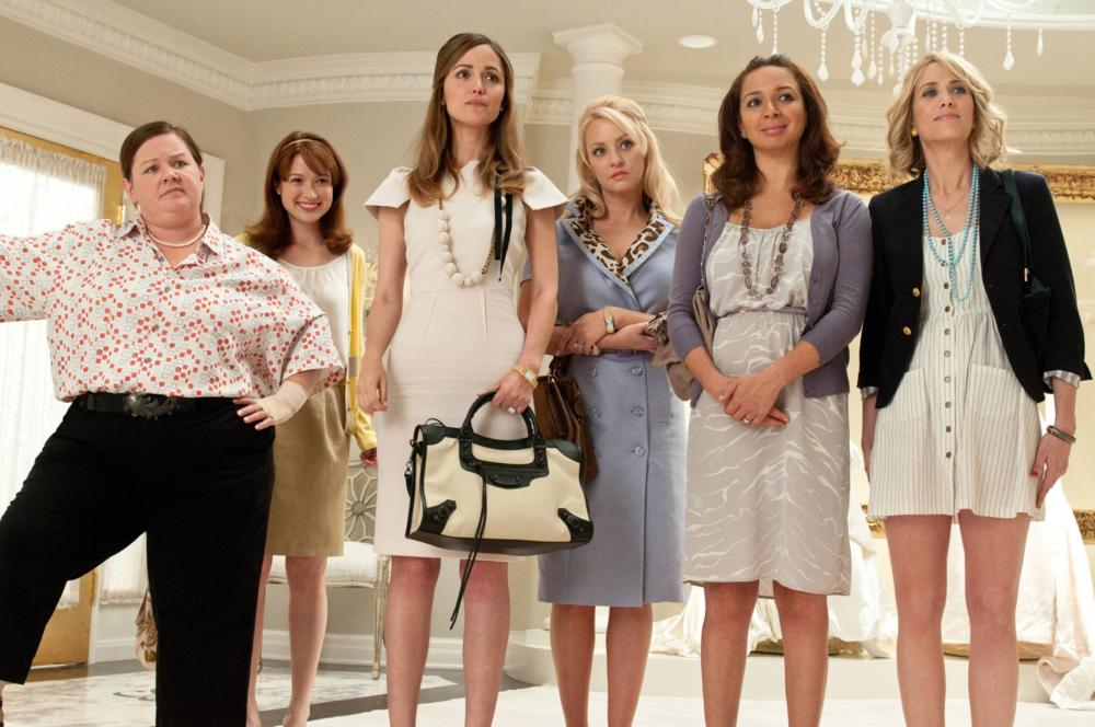 BRIDESMAIDS, from left: Melissa McCarthy, Ellie Kemper, Rose Byrne, Wendi McLendon-Covey, Maya Rudolph, Kristen Wiig, 2011. ph: Suzanne Hanover/©Universal Pictures