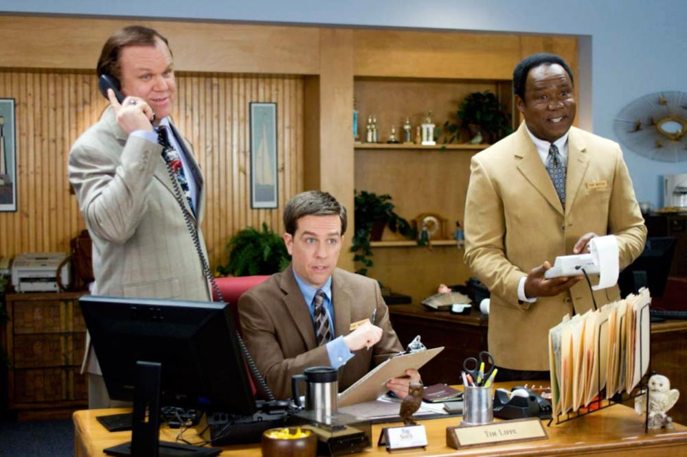 CEDAR RAPIDS, from left: John C. Reilly, Ed Helms, Isiah Whitlock Jr., 2011. ph: Kim Simms/TM and Copyright ©Fox Searchlight Pictures. All rights reserved.