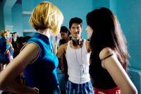 KABOOM, from left: Haley Bennett, director Gregg Araki, Roxane Mesquida, on set, 2010. ©IFC Films