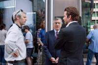 LIMITLESS, l-r: director Neil Burger, Robert DeNiro, Bradley Cooper on set, 2011, ph: John Baer/©Rogue Pictures
