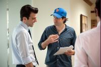 MARGIN CALL, from left: Zachary Quinto, director J.C. Chandor, on set, 2011. ph: Jojo Whilden/©Roadside Attractions
