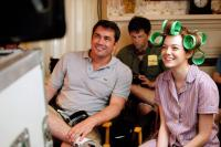 THE HELP, from left: director Tate Taylor, producer Brunson Green, Emma Stone, on set, 2011. ©Walt Disney Studios Motion Pictures
