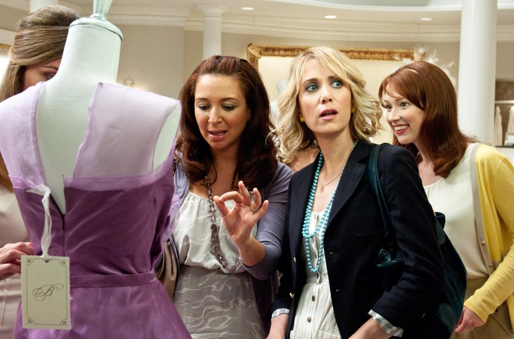 BRIDESMAIDS, from left: Rose Byrne (obscured), Maya Rudolph, Kristen Wiig, Ellie Kemper, 2011. ph: Suzanne Hanover/©Universal Pictures