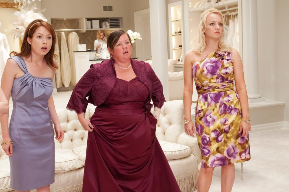 BRIDESMAIDS, from left: Ellie Kemper, Melissa McCarthy, Wendi McLendon-Covey, 2011. ph: Suzanne Hanover/©Universal Pictures