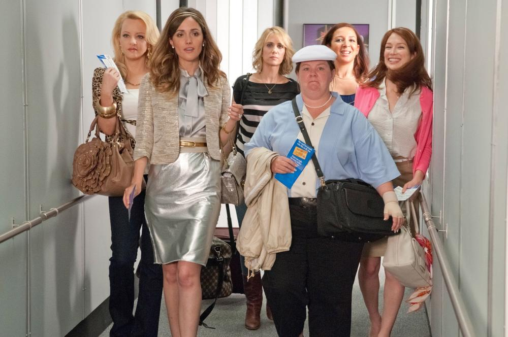 BRIDESMAIDS, from left: Wendi McLendon-Covey, Rose Byrne, Kristen Wiig, Melissa McCarthy, Maya Rudolph, Ellie Kemper, 2011. ph: Suzanne Hanover/©Universal Pictures