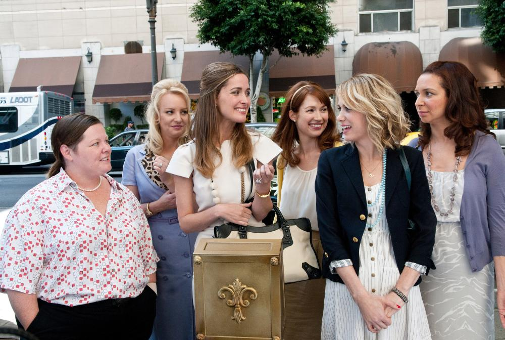 BRIDESMAIDS, from left: Melissa McCarthy, Wendi McLendon-Covey, Rose Byrne, Ellie Kemper, Kristen Wiig, Maya Rudolph, 2011. ph: Suzanne Hanover/©Universal Pictures