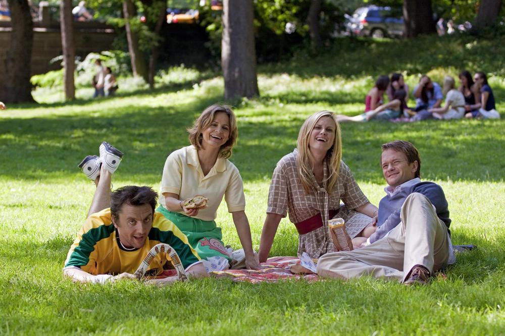THE BEST AND THE BRIGHTEST, from left: Peter Serafinowicz, Amy Sedaris, Bonnie Somerville, Neil Patrick Harris, 2010. ph: John Baer/©Echo Bridge Entertainment
