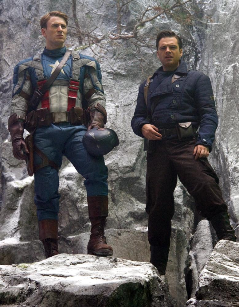 CAPTAIN AMERICA: THE FIRST AVENGER, from left: Chris Evans, Sebastian Stan, 2011. Ph: Jay Maidment/Marvel Studios-©2011 MVLFFLLC. TM &2011 Marvel. All Rights Reserved./©Paramount Pictures