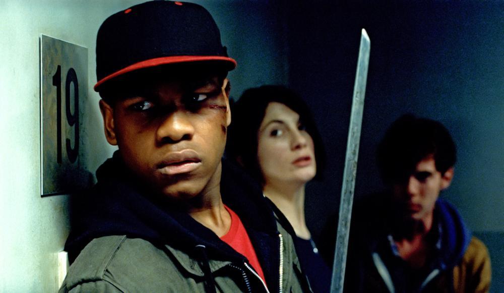 ATTACK THE BLOCK, from left: John Boyega, Jodie Whittaker, Luke Treadaway, 2011. ©Screen Gems
