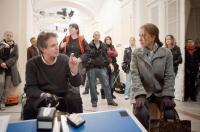 THE DEBT, from left: director John Madden, Helen Mirren, on set, 2010. ph: Laurie Sparham/©Focus Features