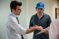MARGIN CALL, from left: Zachary Quinto, director J.C. Chandor, on set, 2011. ph: Walter Thomson/©Roadside Attractions