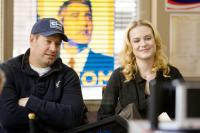 THE IDES OF MARCH, l-r: producer Brian Oliver, Evan Rachel Wood on set, 2011, ph: Sayeed Adyani/©Columbia Pictures