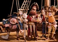 THE PIRATES! BAND OF MISFITS, from left: Pirate with Gout (voice: Brendan Gleeson), Albino Pirate (voice: Russell Tovey), Pirate Captain (voice: Hugh Grant), Pirate with Scarf (voice: Martin Freeman), Surprisingly Curvaceous Pirate (voice: Ashley Jensen),
